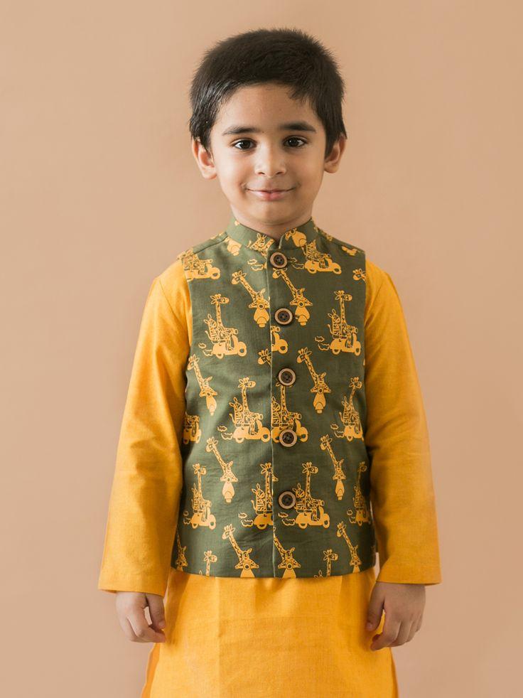 Buy Olive Giraffe and Zebra Print Nehru Jacket