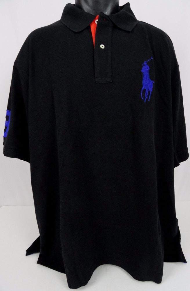 NWT Polo Ralph Lauren 4XB BIG PONY Polo Shirt Black Classic Fit SS 3 On Sleeve #PoloRalphLauren #PoloRugby