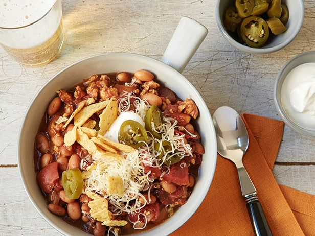 Slow Cooker Turkey Chili Recipe : Food Network Kitchens : Food Network - FoodNetwork.com- tasted this- maybe best chili ever!