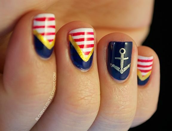 25 unique nautical nail art ideas on pinterest nautical nail marine themed nail art designs prinsesfo Image collections
