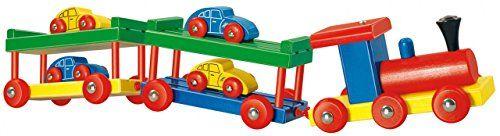 Großer Autotransportzug mit 2 Waggons und 4 Autos aus Holz / Hergestellt in Deutschland / Länge: 54 cm / Gewicht: 1,16 kg / ab 1 Jahr