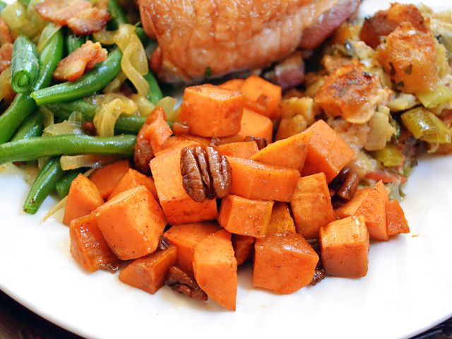 Maple roasted sweet potatoes with pecans | Recipe