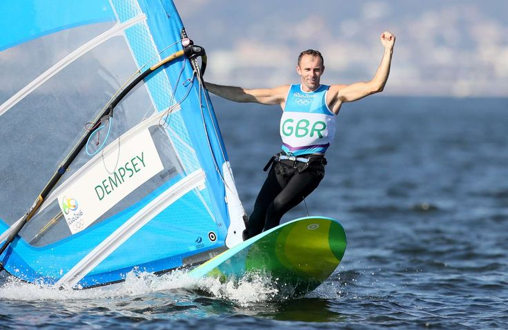 Sailing into second place:    Great Britain's Nick Dempsey celebrates winning silver during the Men's RS:X (windsurfer) Dorian van Rijsselberghe of Netherlands won the gold medal for the event.      -  2016 Rio Olympics: Highs and lows from Day 9