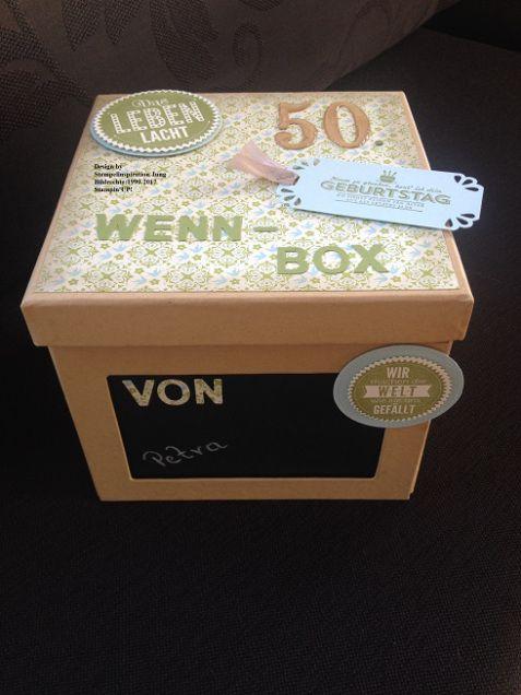 Hallo Bastelfreunde, wir wissen nicht ob ihr schon eine Wenn-Box gestaltet oder verschenkt habt? Aber wir können euch sagen, dass ein solches Geschenk super gut ankommt und mal etwas Anderes ist. Hier