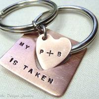 Personalized Keychain Set... Interlocking Taken Heart Set for Couples... WAAAAANNNNTTT
