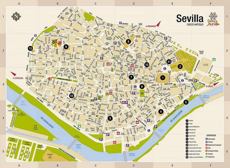 Mapa do centro de Sevilha