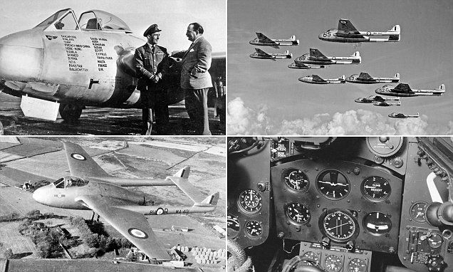 Pictures show the iconic British fighter jet de Havilland Vampire #DailyMail