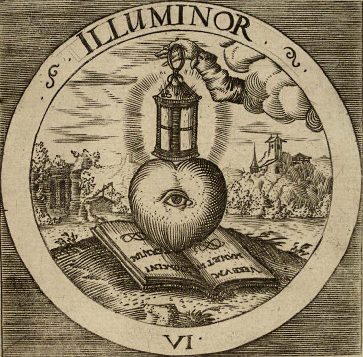 """CramerEmblemataSacra-1-7.jpg (1070×1051) illuminor - Осветить, Просветить   Великий Фонарь-Свеча Традиции, которую не """"ставят под подсвечник"""", Сердечко тут, расположилось правильно, фонарь Светлых Разумов вверху, а слова учения, записанные этими Великими Разумами, служат подстилкой Ищущему Сердечку, чтоб не было так холодно """"восседать"""" ему на Земле."""