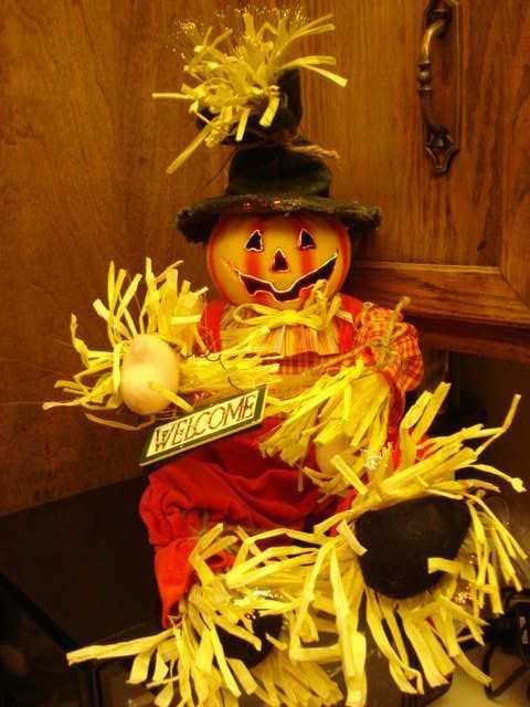 1993 20 fiber optic pumpkin scarecrow autumn d cor new for Animated scarecrow decoration