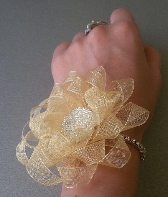 Wedding wrist corsage wedding bracelet by Rocreanique on Etsy