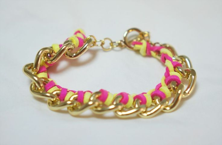 Handmade Chain bracelet with neon yellow and pink suede string bladed  #Handmade #Chain#neon#pink#yellow