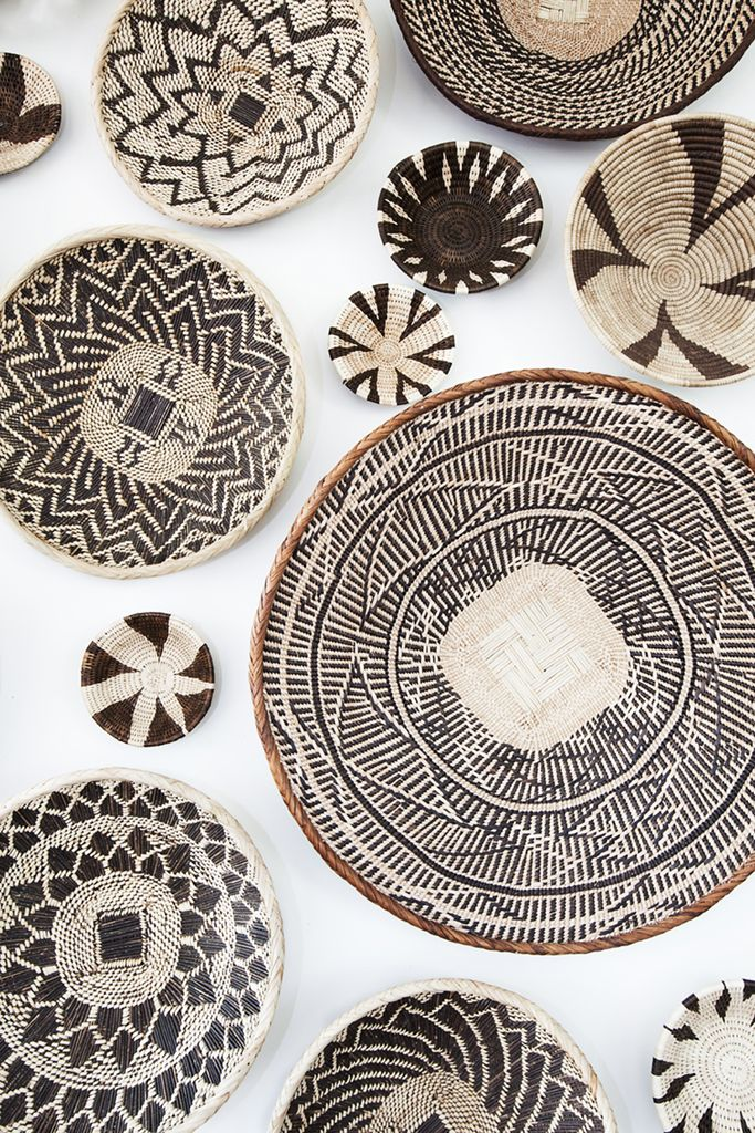 African basket wall art installation I created from baskets I gathered in…