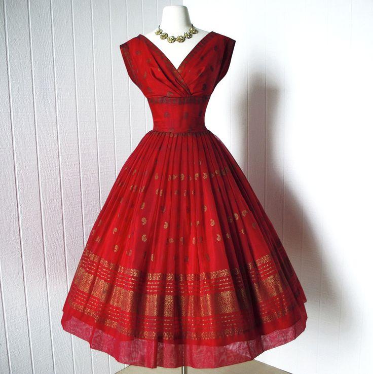 "vintage 1950""s dress ...gorgeous dance originals FRED PERLBERG red chiffon metallic gold"