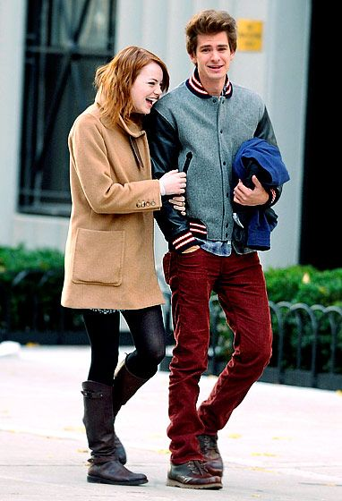 After filming wrapped for The Amazing Spider-Man costars Andrew Garfield and Emma Stone, their on-screen romance continued off the set. In June 2011 -- one month after Garfield split with his girlfriend of three years, Shannon Woodward -- sources confirmed to Us that he and Stone were an item. (In NYC on Nov. 20, 2011)