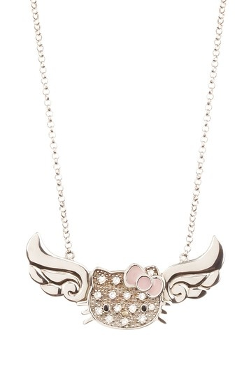 Hello Kitty by Simmons Jewelry Co White Sapphire Hello Kitty Face & Wings Pendant Necklace