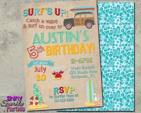 "SURF PARTY INVITATION - Printable ""Beach Party Invitation"
