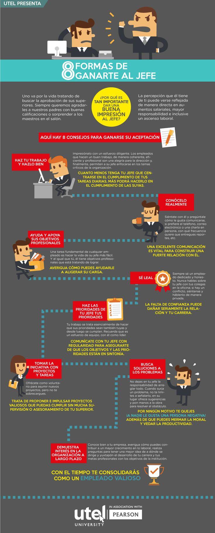 #Infografia #Curiosidades 8 formas de ganarte a tu jefe . #TAVnews