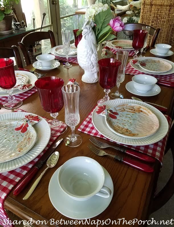 Jacques Pepin Figural Chicken Plates look great with red checked napkins | Summer Brunch | Between Naps on the Porch