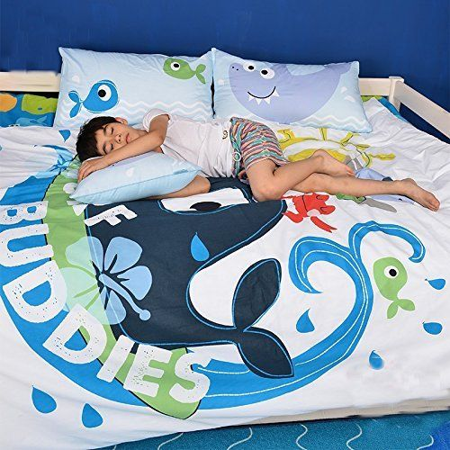 Wolala Home Cartoon Blue Whale Surf Buddies 100% Cotton Boys Duvet Cover Bedding Sets 4Pcs (Queen, Blue) //Price: $159.45 & FREE Shipping //     #hashtag3