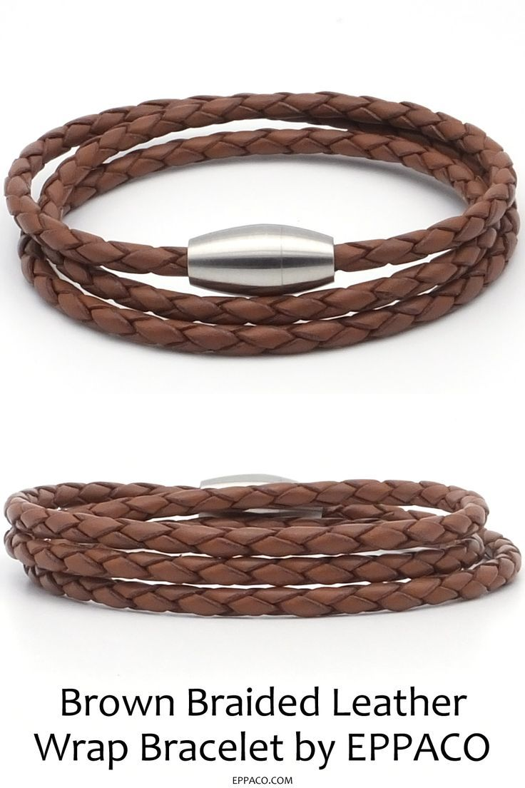 A striking brown braided leather wrap bracelet for men and women. Made from a le…   – Leather Bracelets