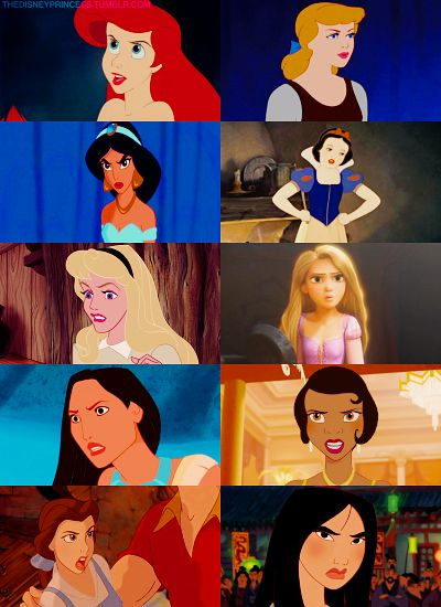 Angry Disney Princesses.   Ariel doesn't understand.  Cinderella is contemplating.  Jasmin doesn't like that girl.  Snow White doesn't like your attitude.  Aroura is surprised at who Prince Charming is.  Repunzel is confused.  Pocahontas wants her raccoon back.  Tiana wants her man.  Belle wants a beast, not a hunk.  and... Mulan WILL cut you.