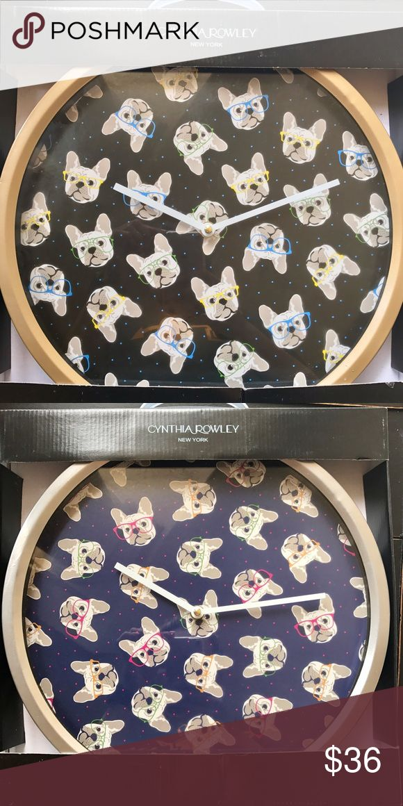 "Cynthia Rowley French Bulldog Black Gold Clock ""14 New in Box Cynthia Rowley French Bulldog Decorative Clock ""14 - Gold Rim - Black Face                                         Stylist pups sporting various colored glasses. Animal Print  No Numbers Requires 1 AA Battery (not included) 14"" Diameter Cynthia Rowley Other"