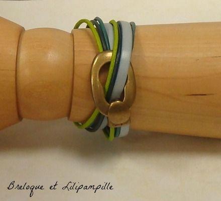 Bracelet double-tour tout cuir  Pur zest