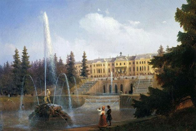View of the Big Cascade in Petergof and the Great Palace of Petergof: 1837  Ivan Aivazovsky