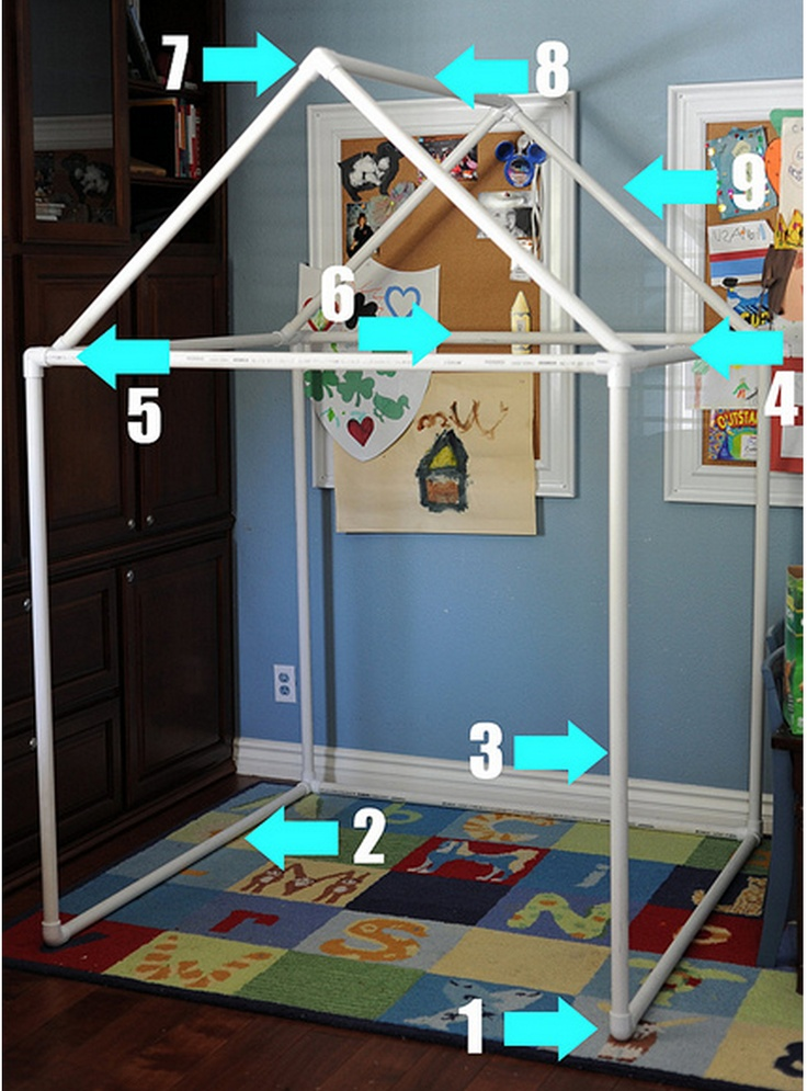 "Kat's Bedroom  PVC Playhouse: Hdwr Store will cut the 9 (10' Lengths) of 1″ White PVC Pipe into these lengths for you:   •  * 9 pcs 50""L,  * 3 pcs 42""L,  * 4 pcs 34""L,  * 4 pcs 1  3/4""L.   You will also need:  • 2--1″ White PVC Schedule 40 SLIP Elbows  • 4--1″ White PVC Schedule 40 SLIP Tees  • 8--1″ White PVC Schedule 40 SLIP Side Outlet Elbows."