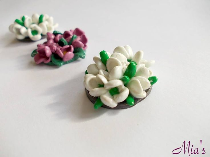 Lilac flowers and snowdrops - brooch