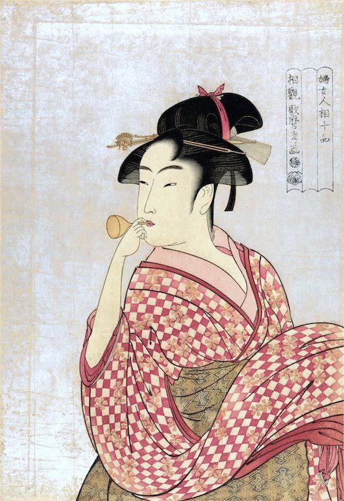 ビードロを吹く娘(喜多川歌麿 画)