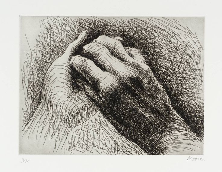 Henry Moore 'The Artist's Hand II' 1979 etching 190 x 254 mm The Tate/London