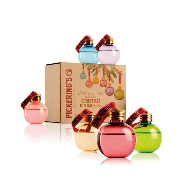 A set of six colourful baubles, each filled with 50ml of Pickering's Gin, perfect for deliciously decorating your Christmas tree