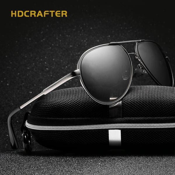 fd608c30c88c4 FuzWeb HDCRAFTER Driver Sunglasses Polarized Men Alloy Colored Lenses Man  Driving Sunglass with Case Male Oculos