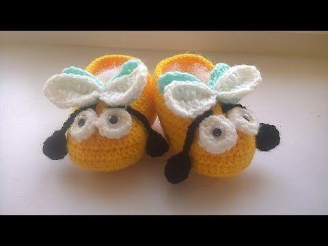 """Пинетки крючком """"Пчелки"""" для начинающих с подробным описанием."""