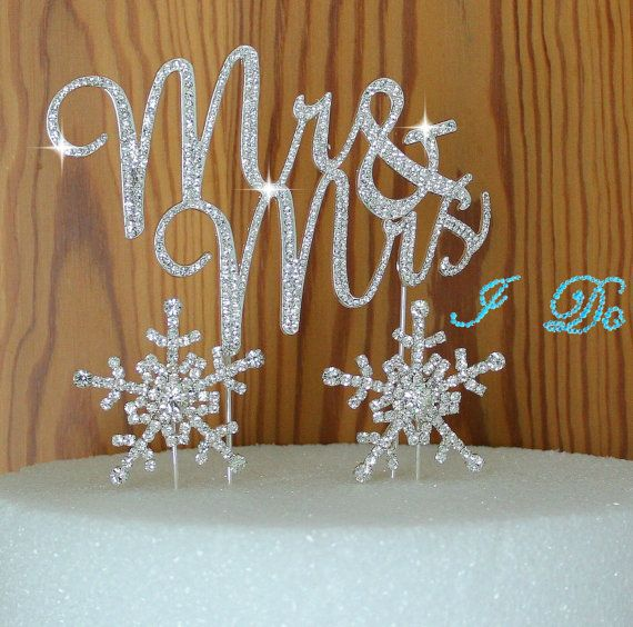Winter Wedding cake Topper in Crystal rhinestones Mr & Mrs in silver Snow Flakes cake decoration PLUS I DO shoe sticker