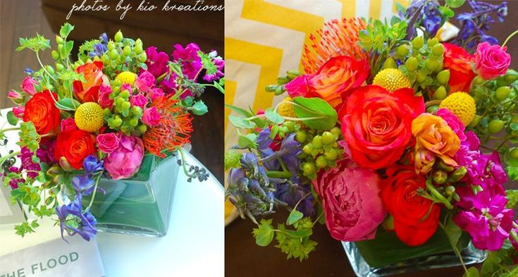Bright wedding centerpieces by kio kreations weddings