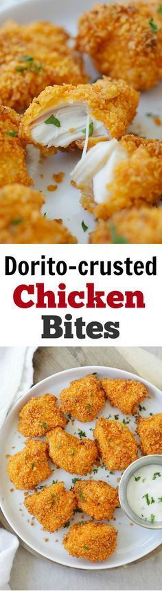 Tortilla Chip-Crusted Chicken Bites - coated with crispy Dorito chips and baked to perfection. 10 minutes active time and dinner is ready! Ingredients Meat 8 oz O organics chicken, tenders Refrigerated 1 Egg Baking & Spices 1/2 cup All-purpose flour Snacks 4 oz Tortilla chips