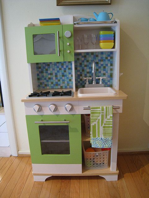 Microwave and back splash. That tea pot at the top is too cute.