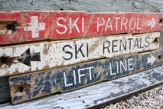 Rustic Distressed Ski Patrol Lift Line Ski by TheUnpolishedBarn