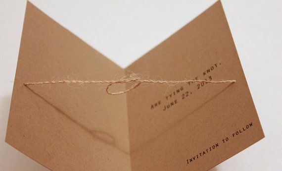 Rustic Save the Date with Kraft Envelopes Tying the by SweetSights, $43.75
