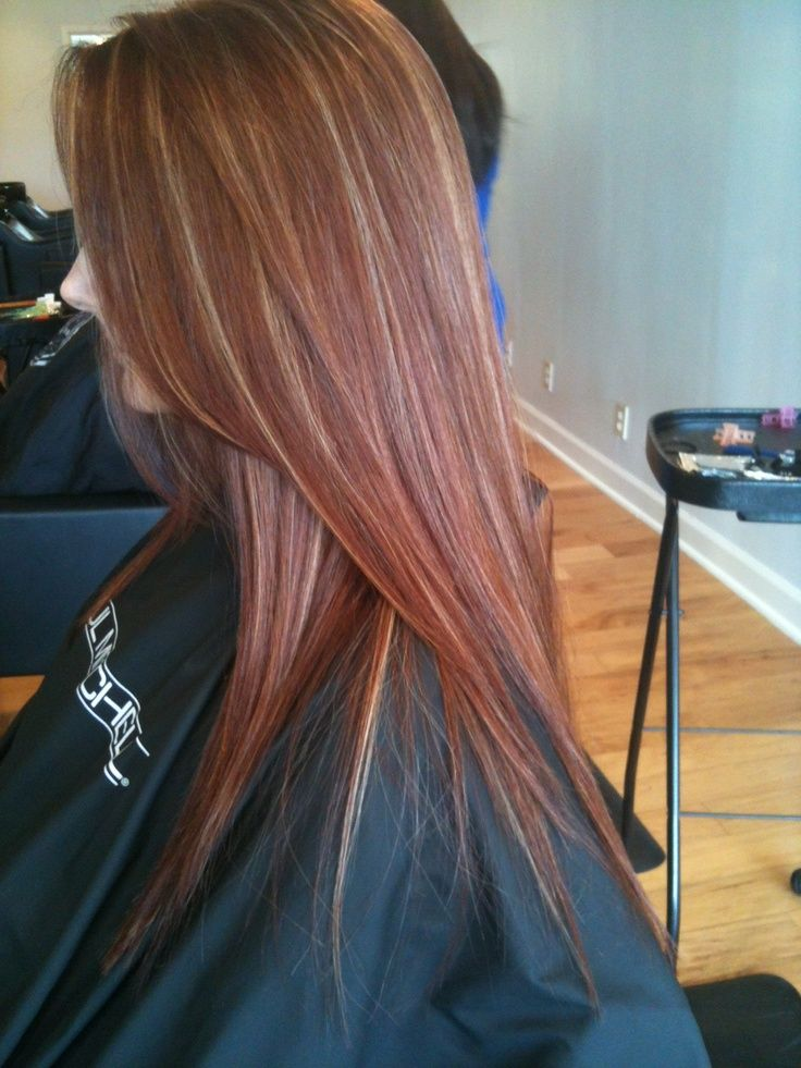 Dark Brown With Red And Blonde Highlights Hair Red