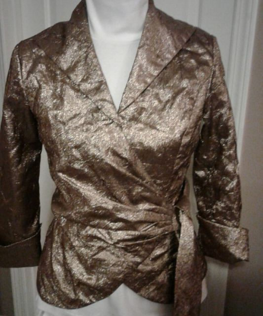 Cachet Gold Wrap Around Blouse  SZ 4 Lined Ladies  | eBay