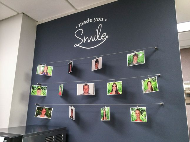 Test Monki, photo wall, chalkboard, dental, dentist, office, orthodontist, metal clips, photos, made you smile, braces