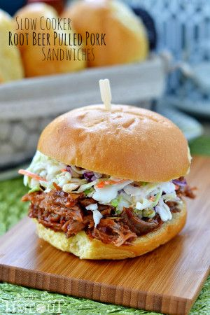 Slow Cooker Root Beer Pulled Pork Sandwiches - simple and delicious! An easy weeknight dinner recipe that everyone will love!   MomOnTimeout.com   #slowcooker #crockpot #sandiwch #dinner