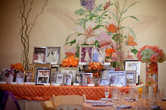 Memorial Table of Marriages. Such a great idea from a wedding I shot last year. A table with photos honoring the marriages of family members.  #wedding