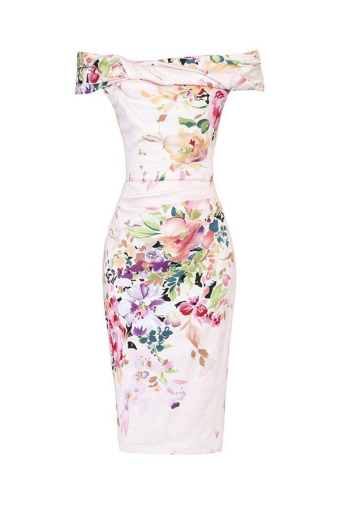 Pink Floral Bardot Wiggle Pencil Dress