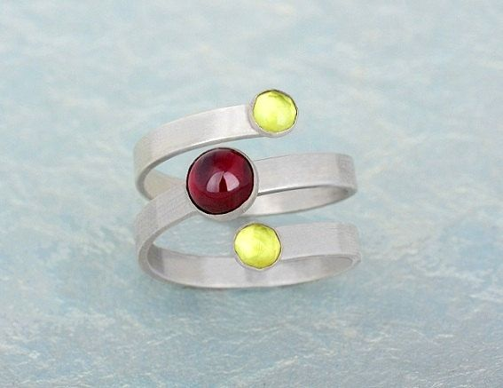 Adjustable ring Garnet stone Tourmaline stone by AyalaBinor