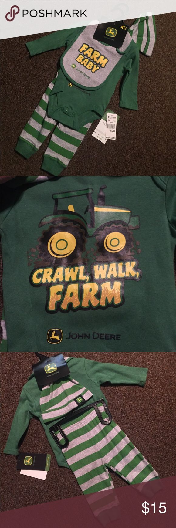Baby 4 John Deere Piece Outfit Baby 4 John Deere Piece Outfit Size: 0/3 Months  1 - Bib 1 - Onesie  1 - Pair of Pants 1 - Hat ••NEW WITH TAGS•• John Deere Matching Sets