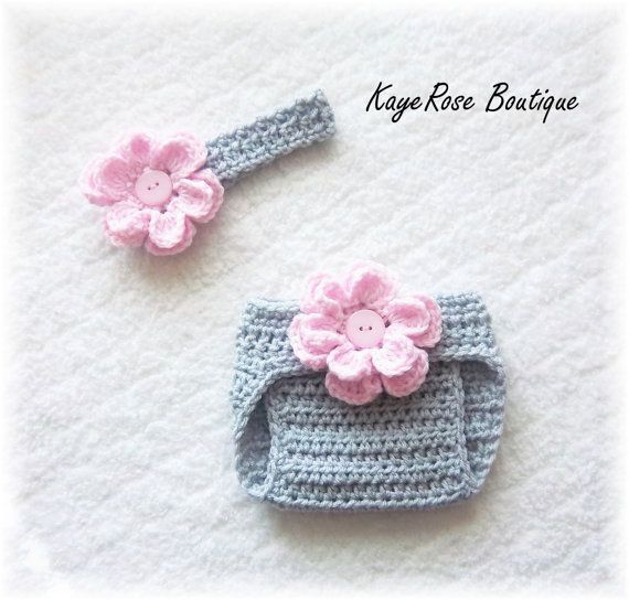 Newborn Baby Crochet Flower Headband & Diaper Cover Set Pink and Gray on Etsy, $17.95